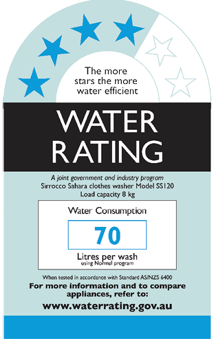 Water Rating appliance label